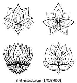 Set of four ethnic Mandala ornaments isolated on white background. Henna tattoo design. Vector illustration