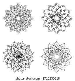 Set of four ethnic round Mandala ornaments isolated on white background. Henna tattoo design. Vector illustration