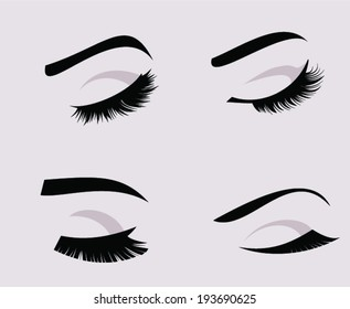 Set of four eyelashes and eyebrows silhouettes. Closed eyes vector icon