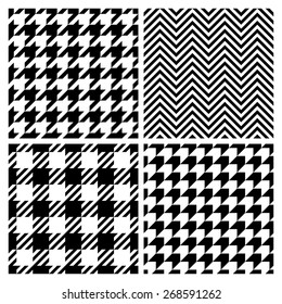 Set of four fashion patterns. Houndstooth, chevron, plaid patterns (vector version)