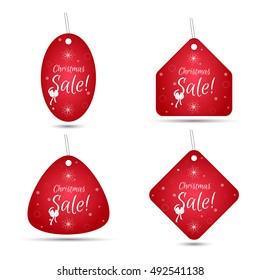 Set of four festive Christmas coupon tags, red with a white bow. Suitable for web design and print. Vector