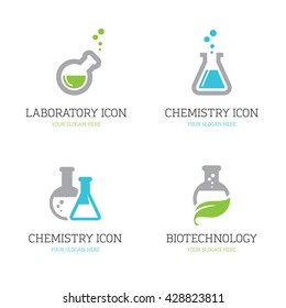 Set of four flask icons for chemistry, chemical research laboratory, science, biotechnology logo design concepts