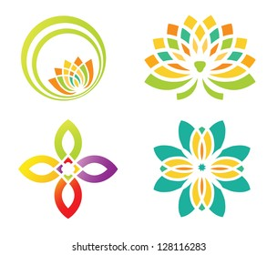 Set of four floral designs elements for logo designing