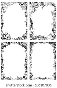 Set of four floral frame