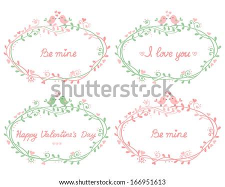 Set Four Floral Frames Couple Birds Stock Vector (Royalty Free ...