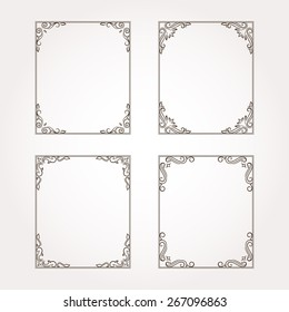 Set of four floral frames. Vector decorative elements and page decorations