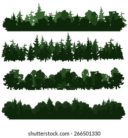 Set of four forest silhouettes. Hand drawn. Different hues. Vector illustration. Different types of forest. Stylized drawing