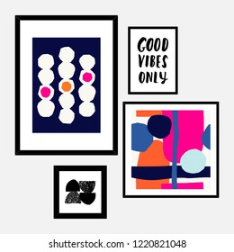 A set of four framed art prints in black, pink, blue, orange and white arranged in a beautiful and stylish composition. Abstract art posters, printable greeting cards, t-shirt designs.