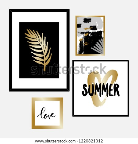 682805491767 Set Four Framed Art Prints Black Stock Vector (Royalty Free ...