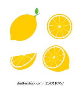 Set of four fresh lemons different views: whole, half, slice.  Natural organic fruits isolated on white background. Flat vector illustration. Easy to edit template for your design projects.