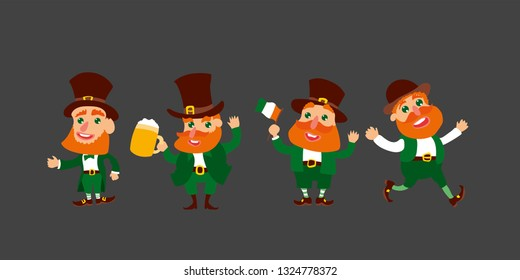 Set of four funny leprechauns in different poses. Saint Patrick's Day. Vector illustration