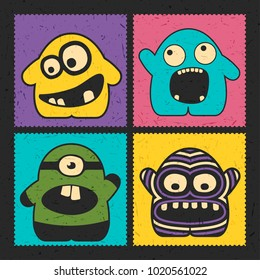 Set of four funny monsters with different emotions on grunge color background. Postage stamp`s with cute colorful robots. cartoon illustration