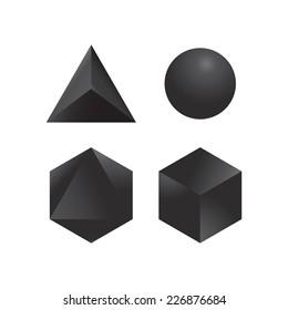 Set of four geometric shapes