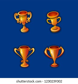 Set of four Golden cup realistic. 3d sport competition winning trophies vector illustrations isolated