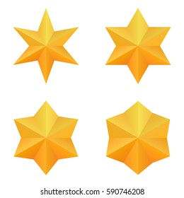 Set of four golden six point stars. Vector, eps10.