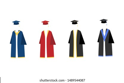 Set of four graduation gown styles