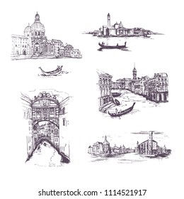 set of four  graphic sketch drawing of Rome Italy cityscape.Set of Cityscape Vector Illustration Line Sketched Up.Venice. Hand drawn sketch of European city