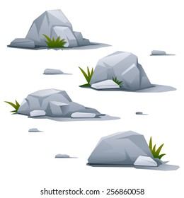 Set of four gray stones with small grass, landscape design elements, quality illustration, isolated