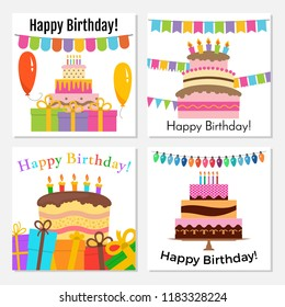 Set of four greeting cards with sweet cake for birthday celebration. Vector illustration