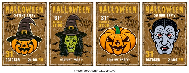 Set of four halloween vector invitation posters in colorful style. Witch head, pumpkin, dracula vampire
