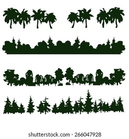 Set of four hand drawn forest's and trees' silhouettes. Palms, spruce, pine, bushes. Vector illustration.