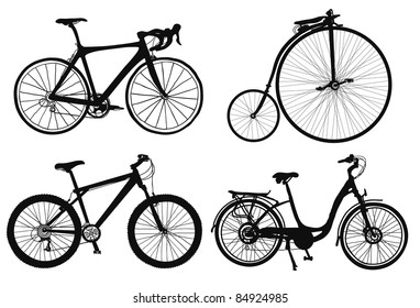 set of four hand drawned bicycles silhouettes.