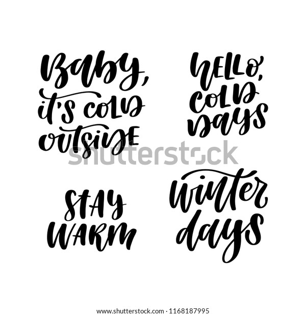 Set Four Hand Lettered Winter Weather Stock Vector (Royalty ...