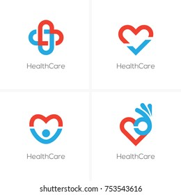 Set of four health care logo with heart shape, ok sign, check mark and happy man silhouette. Cardiology center, medical clinic abstract logo.