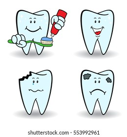 Set of four healthy and ill cartoon teeth with various face grimaces, color vector illustrations