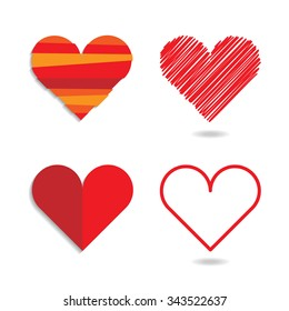 Set of four heart symbols in different style.