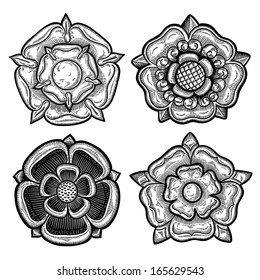 Set of four heraldic roses. Vintage decorative elements. Isolated objects.