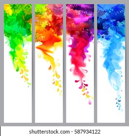 Set of four holi banners, abstract headers with colored splash blots. Bright spots and blobs for holiday backgrounds.