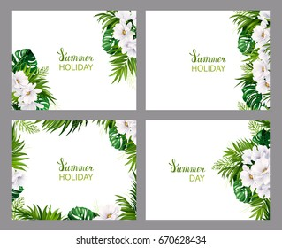 Set of four Holiday banners with green tropical palm, monstera leaves and magnolia blooming flowers on the white background. Four composition with one style elements on the summer poster.