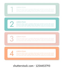 Set of four horizontal colorful infographics labels of paper with numbers and text, banner isolated on white background - vector