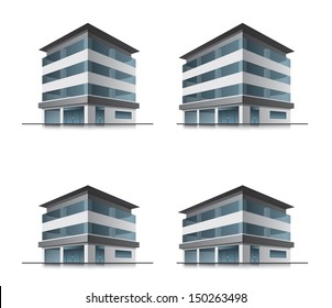 Set of four hotel or office vector business building icons