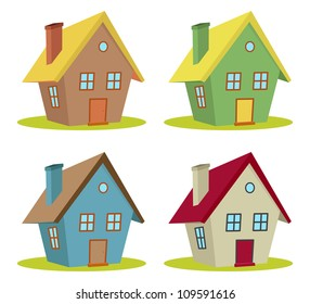 set of four houses with color changes