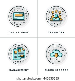 A set of four icons on business issues and processes, such as online work, teamwork, management, cloud storage. Colored in gray, orange and blue flat vector illustrations.