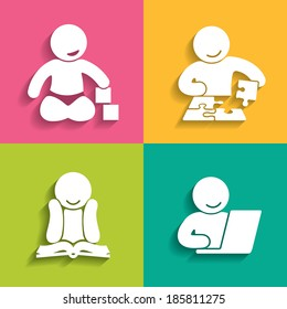 A set of four icons that illustrate the stages of intellectual development of the child