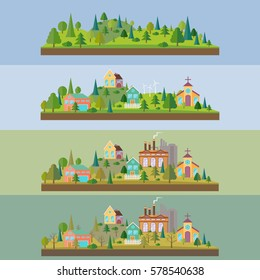 Set of four illustration. Wild forest in flat style. Eco village in flat style.Eco village with plant or factory building in flat style. Environmental pollution. Vector illustration.
