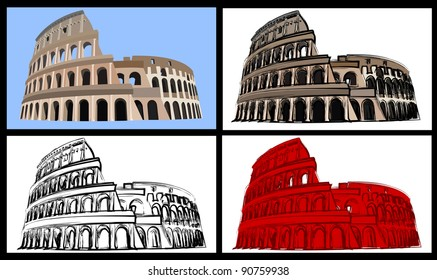 Set of four illustrations of the colisseum