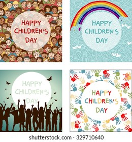 Set of four images for international Children's Day