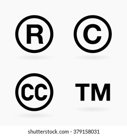 Set of four intellectual property and public domain black icon symbols with shadows over white