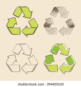 Set of four isolated hand drawing vector recycling symbols.
