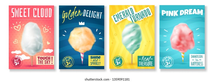 Set of four isolated realistic candy sugar cotton posters with colourful compositions of images and text vector illustration
