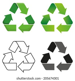 Set of four isolated vector recycle symbol