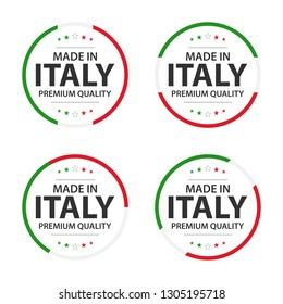 Set of four Italian icons, English title Made in Italy, premium quality stickers and symbols, simple vector illustration isolated on white background