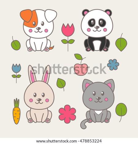 Image of: Step Set Of Four Kawaii Animals Cat Dog Panda Rabbit And Decorative Elements Shutterstock Set Four Kawaii Animals Cat Dog Stock Vector royalty Free