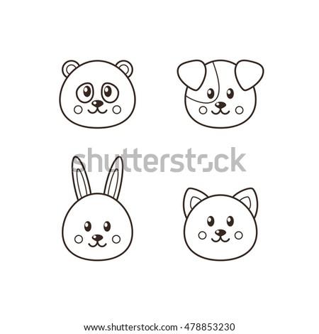 Image of: Plush Set Of Four Kawaii Animals Cat Dog Panda Rabbit Shutterstock Set Four Kawaii Animals Cat Dog Stock Vector royalty Free