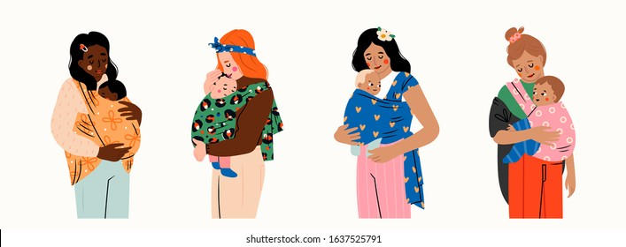 Set of four Ladies carrying their kids. Newborn Baby child in Sling feeling love and protection from his mother. Family, lifestyle concept. Happy Mother's Day. Hand drawn vector illustration
