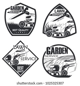 Set of four lawn service badge monochrome style, vector